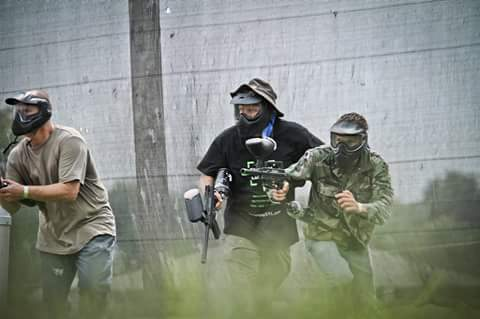 Paintball players on St. Louis Field