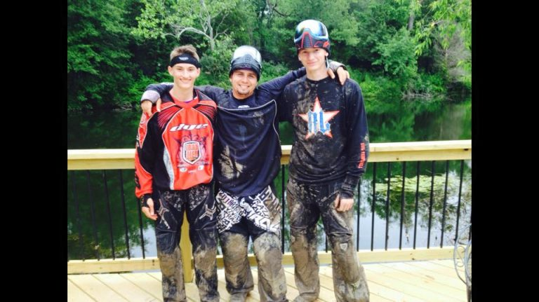 3 paintball players standing together