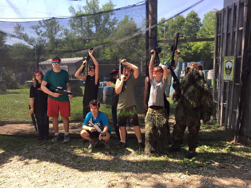 group of kids at airsoft party near st. louis