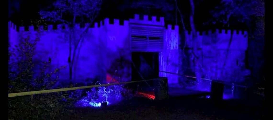 paintball haunted house at night